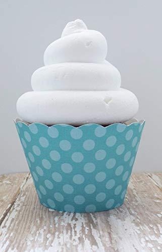 Aqua Blue Polka Dot Cupcake Wrappers Standard and Mini Sized Dessert Holders Set of 12