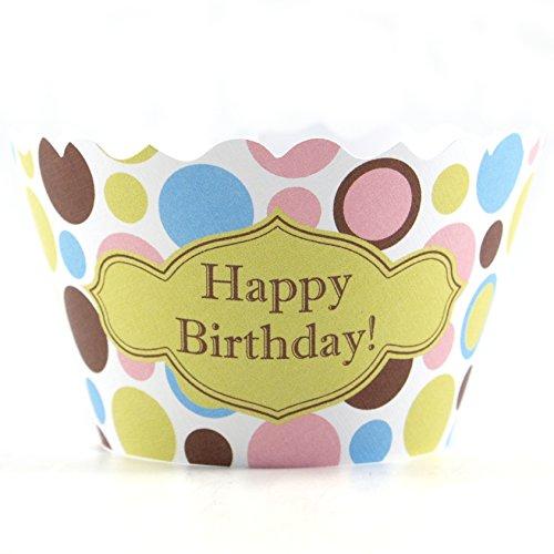Bella Cupcake Couture Happy Birthday Polkadot Cupcake Wrapper Set of 12
