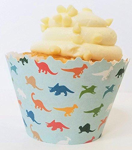 Dinosaur Print and Orange Polka Dot Cupcake Wrappers
