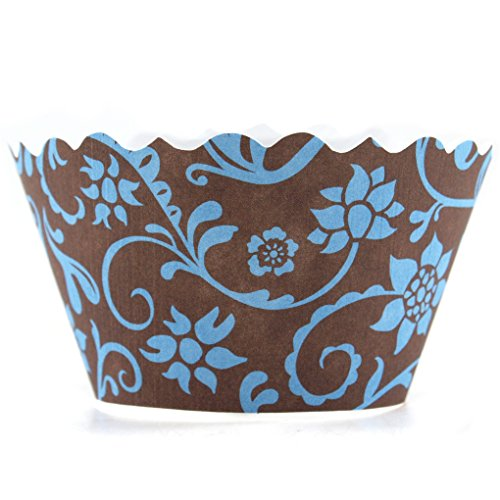 Bella Cupcake Couture Hannah Blue and Brown Cupcake Wrapper Set of 12