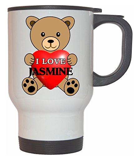 I Love Jasmine White Stainless Steel Mug