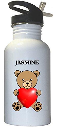 Jasmine White Stainless Steel Water Bottle Straw Top 1009