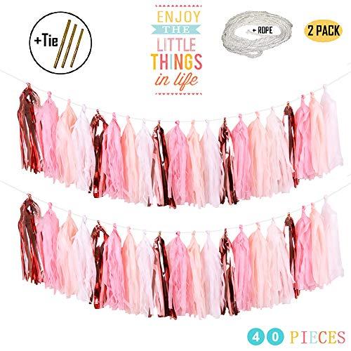 MerryNine Tissue Tassels Garlands 40PCS Tassels 6 m197 ft Long Tassels for Wedding Baby Shower Event Party Supplies Decoration Rose GoldLight PinkPeachWhite Set