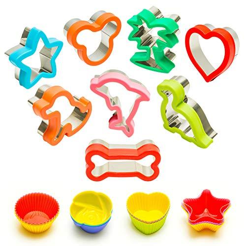 Cookie Cutters I Sandwich Cutters for Kids I Mickey I Tree I Heart I Star I Dog I Dinosaur I Dolphin I Bone with 12 Reusable Silicone Cups