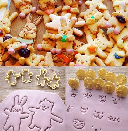Astra shop Newest 14PCS Fashion Bunny Bear shape Fondant Cookie Cutters Set - 4pcs Body with 10pc emoji stamps