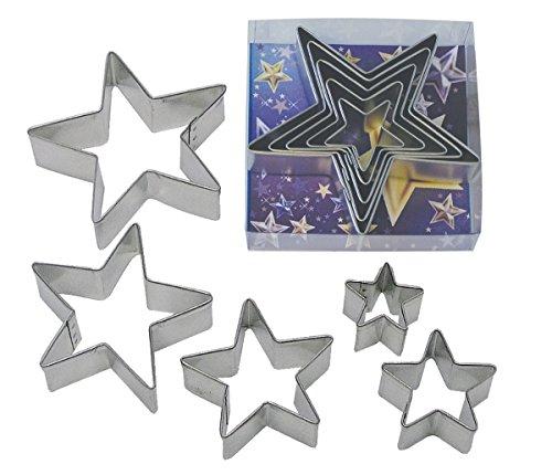 CybrTrayd RM-1988B 5 Piece R&M Star Cookie Cutter Set Metallic