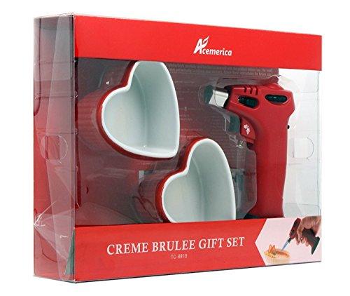 Creme brulee torch include 2 heart shape ramekin gift set