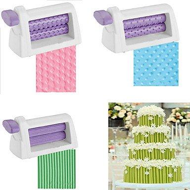 HJLHYL Plastic Rolling Pin Embosser Roller Set Baking Tools For Cakes Fondant Strip Ribbon Cutter Sugar craft  3