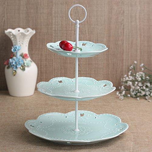 weddingwish 3 Tier Round Blue Porcelain Cupcake StandCake StandDessert StandFood Display Stand White Stem