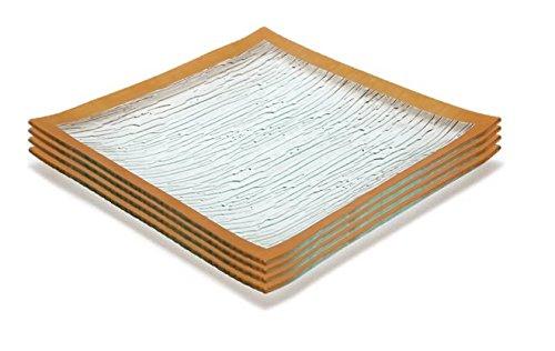 GAC Set of 4 Elegant Tempered Glass Dinner Plates Square Glass Plate 115 Inch Break and Chip Resistant – OvenMicrowave Safe – Dishwasher Safe – Decorative Gold Border
