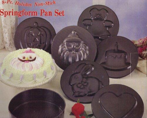 8 Pc Holiday Non-stick Springform Pan Set