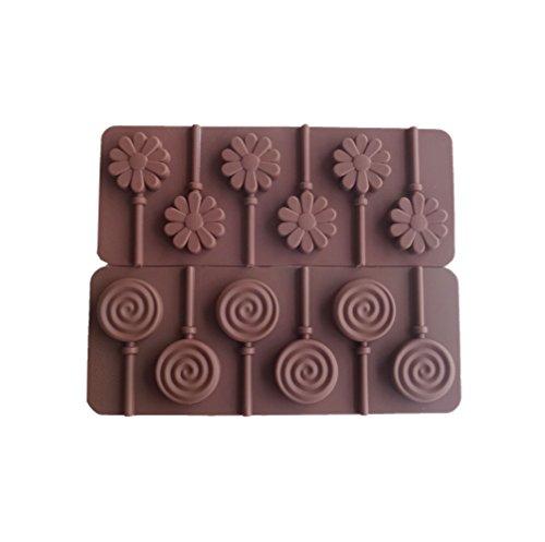Yunko 6 Cavity Swirl Lollipop Flower Shape Silicone Chocolate Candy Mold with Sticks 2pcs Set