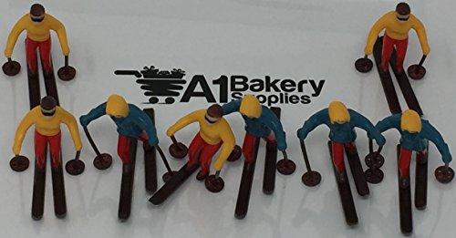 A1BakerySupplies Cup Cake Decorating Pick Cupcake Decorator  8 piece Skiers Set