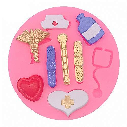 Small Size Nurse Theme Fondant Mold Nurse Hat Stethoscope Pill Bottle Bandage Thermometer Medical Silicone Chocolate Candy Resin Mold Nurse Graduation Retirement Cupcake Topper Decorating Tools
