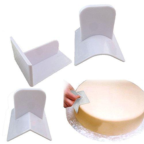 3pcs Plastic Cake Smoother Polisher Tools Cake Decorating Smoother Fondant Sugarcraft Cake Spatulas DIY Baking Tools
