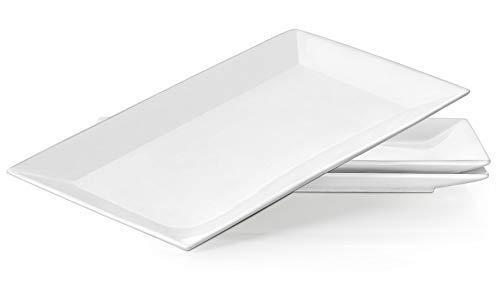 DOWAN 14 Inches Porcelain Serving Platters Dinner Plate Set 3 Packs White and Rectangular