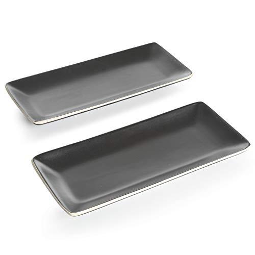 Gibson Overseas 9980302R Black Accent serveware Home décor regtangular Matte Serve Decorative soho Lounge Set 2 platters 1175 Rectangular