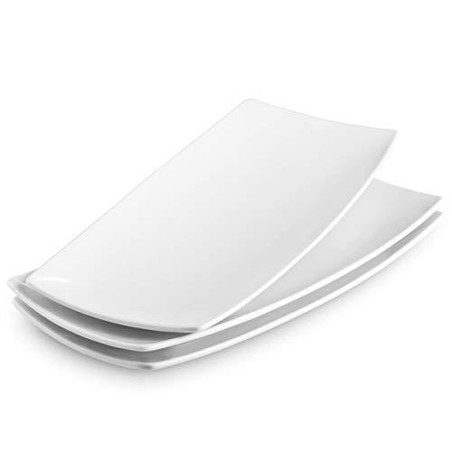 KooK Serving Trays Rectangular Platters Ceramic White 118 in Set of 3