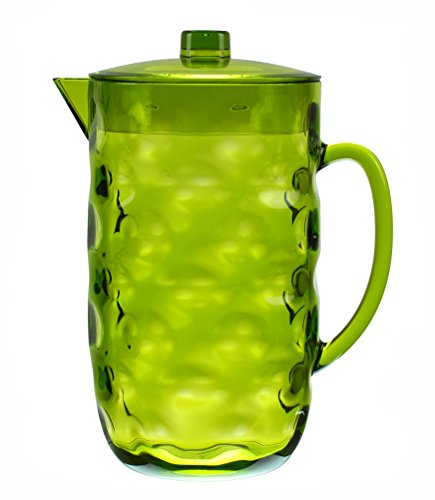 QG Acrylic Plastic Pitcher with Lid BPA Free - Great for Iced Tea Water - Green - 063 Gallon  80 oz  25 Quart