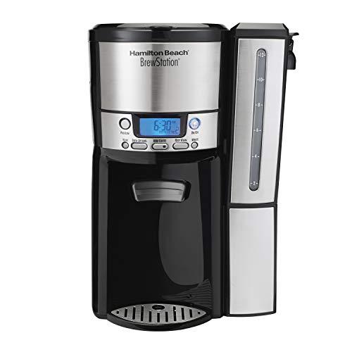 Hamilton Beach 47950 Coffee Maker with 12 Cup Capacity Internal Storage Coffee Pot Brewstation BlackStainless Steel