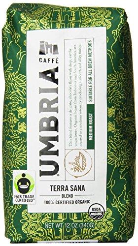 Caffe Umbria Fresh Seattle Whole Bean Roasted Coffee Terra Sana Organic Blend Medium Roast 12 oz Bag