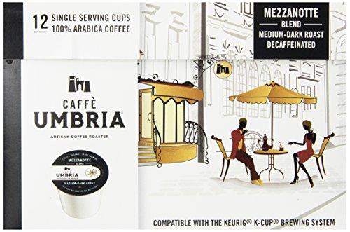 Caffe Umbria Single Serving Coffee Cups Mezzanotte Decaf Blend 12 Count