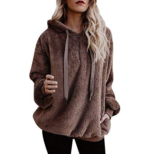 Gillberry Women Jacket Women Hooded Long Coat Jacket Hoodies Parka Outwear Cardigan Coat Coffee B US XXLAS XXXL