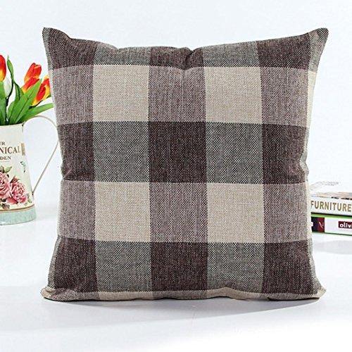 Highpot Retro Grid Home Body Pillowcases Simpel Style Square Cushion Cover Sofa Chair Car Home Decor CoffeeB