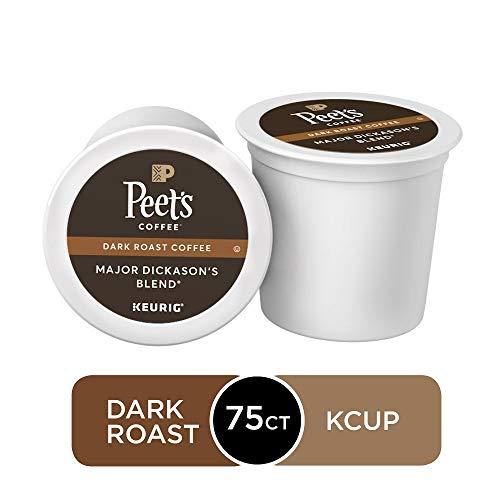 Peets Coffee Major Dickasons Blend Dark Roast 75 Count Single Serve K-Cup Coffee Pods for Keurig Coffee Maker