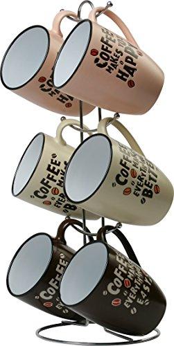 Wees Beyond G Coffee Mug Set with Stand 8008-G 12oz Assorted