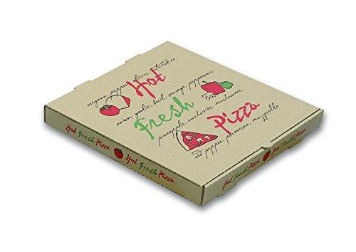W PACKAGING WPPBE14K Pizza Box Hot Fresh Pizza Print E-Flute 1 58 Deep 14 Kraft Pack of 50