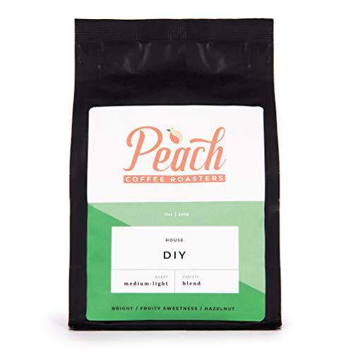 Peach Coffee Roasters - Medium-Light Roast - DIY Coffee Blend for Drip French Press Espresso Drinks - Fair Trade Arabica Whole Coffee Beans - 12 oz