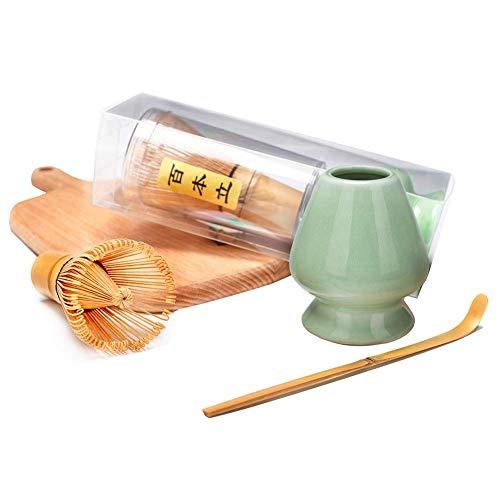 Bamboo Matcha Tea Whisk Set Chasen Bamboo Scoop Chashaku Ceramic Whisk Holder Ceremonial Starter Matcha Kit for Traditional Japanese Tea Ceremony plum green
