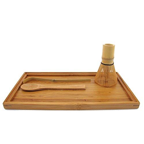 BambooMN Chasen Tea Whisk  Chashaku Hooked Bamboo Scoop for preparing Matcha  Tea Spoon  Tea Serving Tray