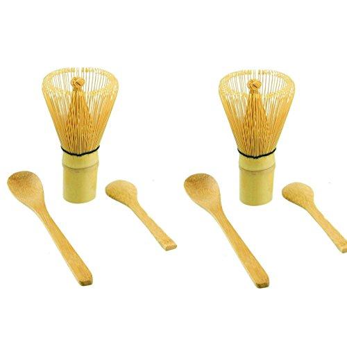 JapanBargain 37033805x2 Bamboo Matcha Whisk Set Japanese Ceremonial Matcha Chasen for Green Tea Powder Matcha Ceremony Two Whisks 100 Prong Two Matcha Scoops Two Long Bamboo Spoons
