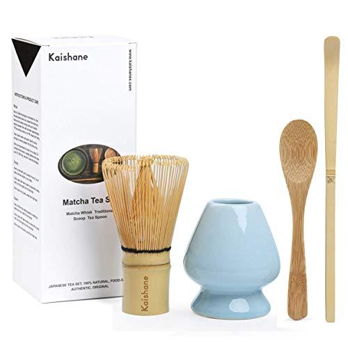 KAISHANE Matcha Whisk Set Bamboo Matcha Tea Set of 4 Including 100 Prong Matcha Whisk Chasen Traditional Scoop Chashaku Tea Spoon, Matcha Whisk Holder Blue Color