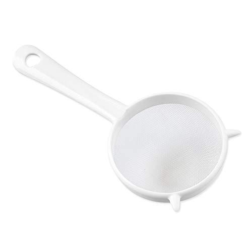 LFOEwpp7 Plastic Mesh Sieve Kitchen Handheld Plastic Screen Mesh Tea Leaf Strainer Flour Sieve Colander White Large