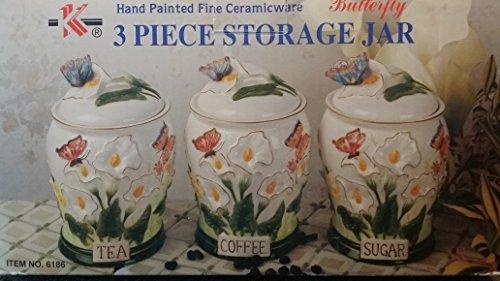 3 Piece Butterfly Storage Jars Tea Coffee Sugar