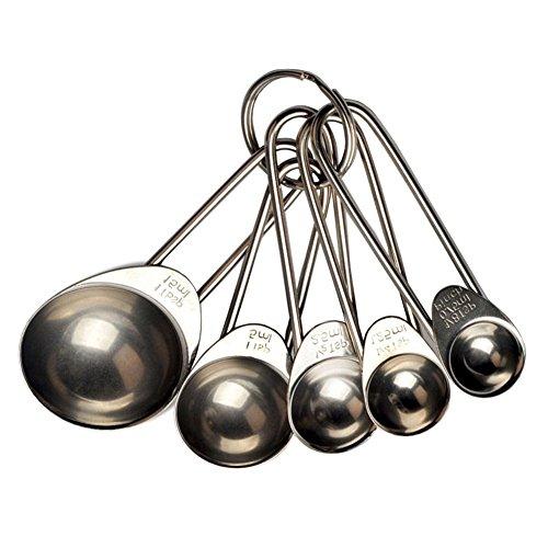 BleuMoo 5pcs Kitchen Metal Measuring Spoon Cup Tea Coffee Sugar Cooking Baking Scoop