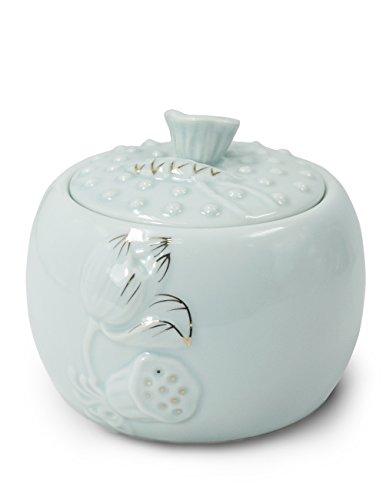 Dahlia Embossed Lotus Glazed Celadon Handcrafted Porcelain Tea Storage Tea Caddy Tea Canister