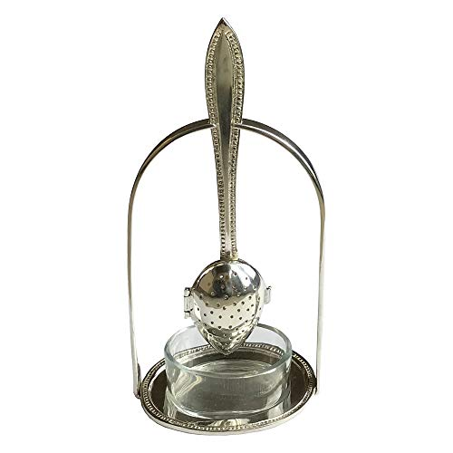 7 Silver-Plated Loose Tea Strainer Spoon And Holder With Glass Drip Cup