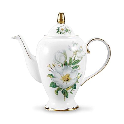 Panbado Bone China 95 Gold Rimmed 35 Ounce1000ml Porcelain Teapot Coffee Pot Camellia White and Green 255×12×245cm
