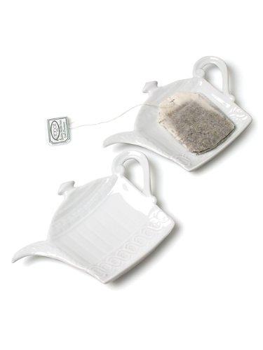 Set 6 Pieces 5 White Porcelain Teapot Shaped Teabag Holder Tea Bag Plate Dish