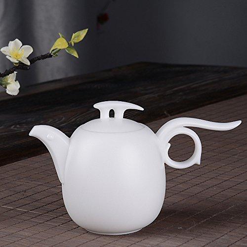 White Porcelain Teapot Handmade Unique Handle Porcelain Coffee Pot