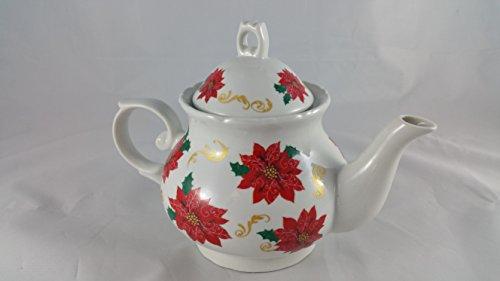 Ceramic Crimson Garden Rose Teapot White