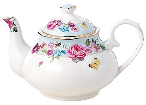 Jusalpha Royal Floral Fine Bone China Rose Vintage Teapot G