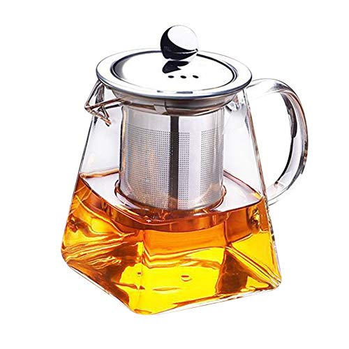 VAlink Clear Heat Resistant Glass Teapot wStainless Steel Strainer Filter Infuser Tea Pot 350ml Coffee Pot Square Glass Teapot Leaf Tea Pots for Loose Tea for Home Kitchen Tool Supplies