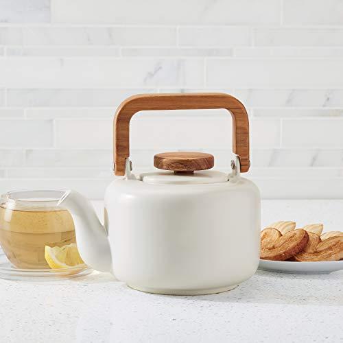 Ceramic Coffee and Tea 8-Cup Teapot Matte White Stoneware