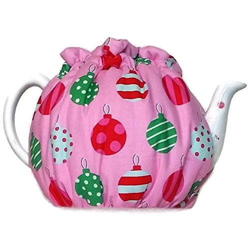 Teapot Cozy quilted tea warmer with Red green and white Christmas ornaments on Pink for a 5-8 cup teapot 487