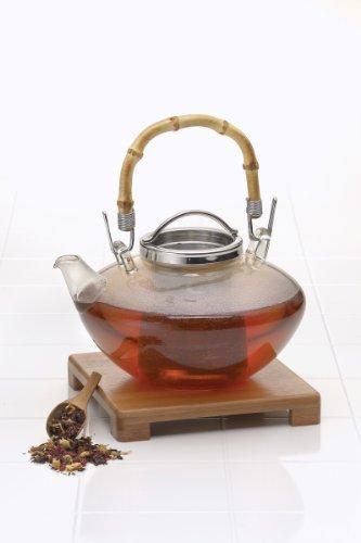 "BonJour Tea Handblown Glass ""Zen"" Teapot with Stainless Steel Infuser and Bamboo Trivet 42-Ounce"